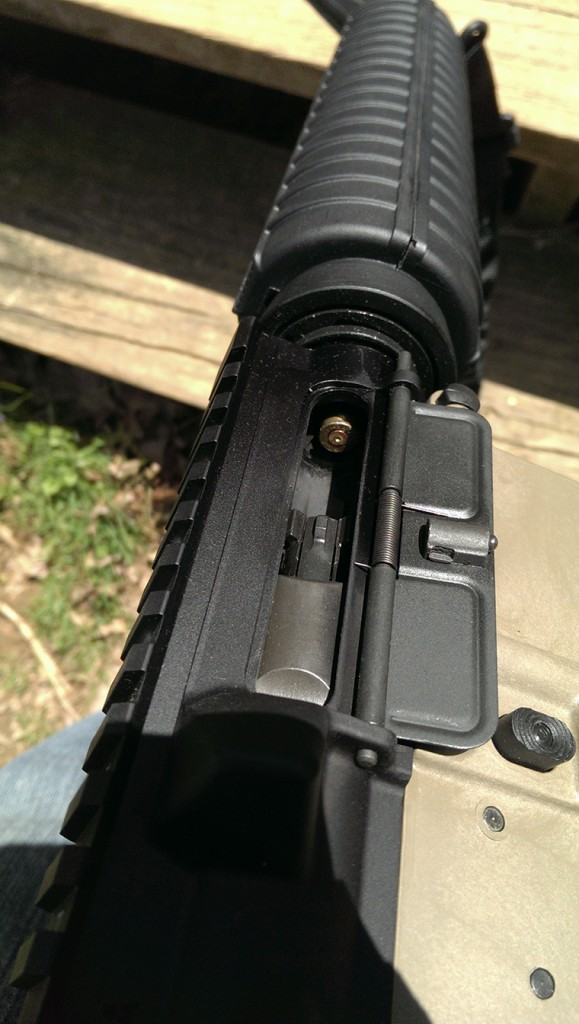 Inducing a stuck case.  DISCLAIMER: DON'T DO THIS TO YOUR RIFLE.