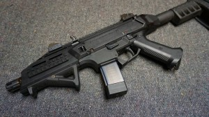 Angled foregrips are A-OK on handguns.