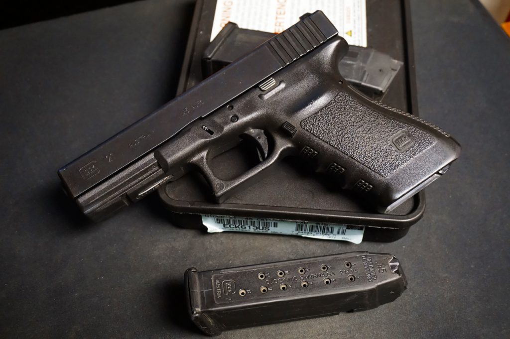 This early 90s blue label police sale Glock 21 is a throwback to the AWB years.
