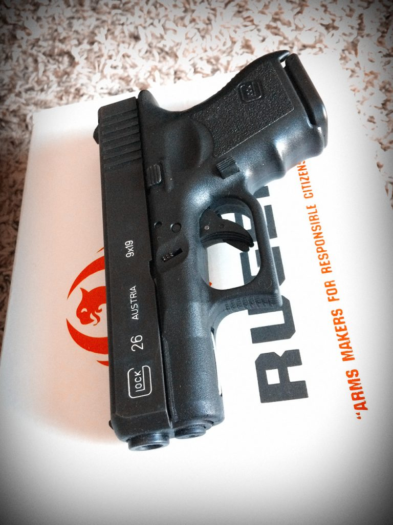 Generation 2.5 Glock 26, ironically sitting on a Ruger box.